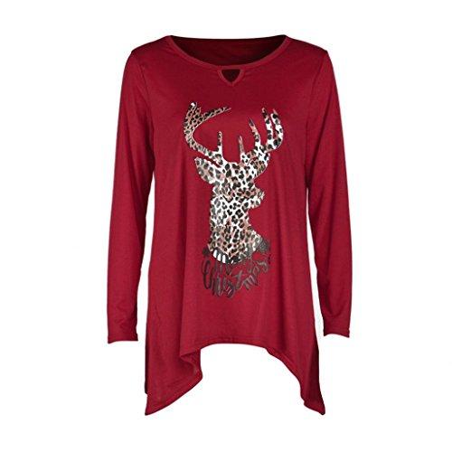 Lisingtool Women's Leopard Christmas Deer Letters Long Sleeve Shirt Top Blouse (XL, Red)