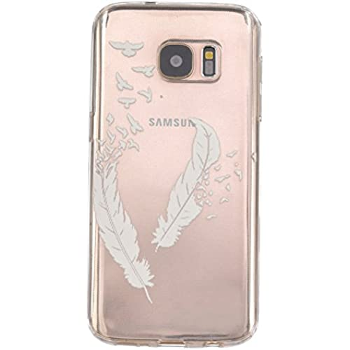 S7 Edge Case, Cover For Samsung Galaxy S7 Edge Neo Flower Printing Soft Silicone TPU Back Covers for Samsung Galaxy S7 Edge( 5.5 inch )Shell (clear feather) Sales