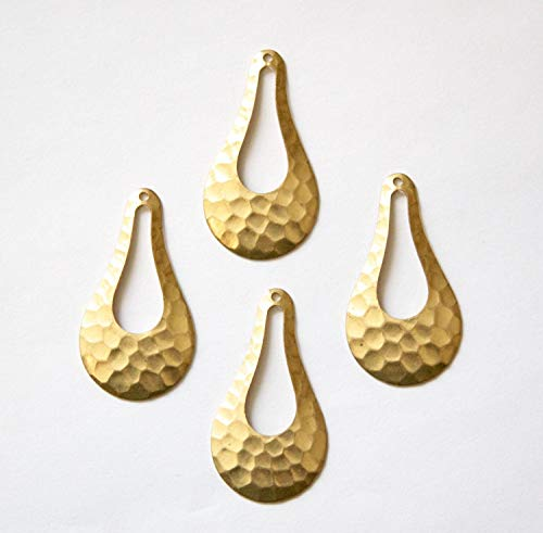 Pear Drop Pendant - Hammered Pendant Necklace - 1 Hole Hammered Raw Brass Pear Drop Pendant Drops - 4pcs