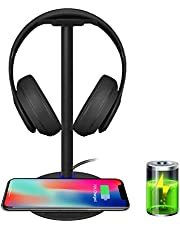Wireless Charging with Headphone Stand New Bee Sturdy 2-in-1 Headset Holder & Wireless Charger Pad for iPhone 12/12 Pro/11/XS Max Samsung S21/S20/S10/S10+/S9/S9+ with LED Indicator (Black)