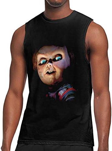 メンズノースリーブTシャツ トップス 吸汗速乾 スポーツ フィットネス チャイルド プレイ チャッキー Tシャツ 袖なし タンクトップ 丸首 スリーブレス 綿 レーニング M-3XL ロゴプリント