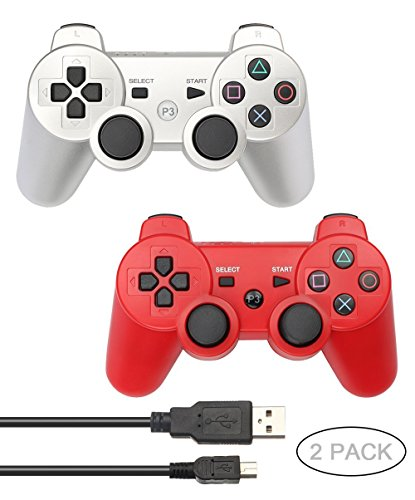 Ps3 Red Wireless Controller - PS3 Controller 2 Pack Wireless Bluetooth Six Axis Controllers Gamepad for PlayStation 3 Dualshock 3 with 2 Charging Cable (Silver+Red)