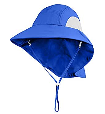 Connectyle Kids Large Brim UV Protection Sun Hat with Neck Flap Mesh Fishing Cap - Blue - Large