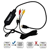 RCA to HDMI Converter, UBISHENG Audio Converter with USB Charge, Mini AV 3RCA CVBS Composite Cable to 1080P PAL NTSC HDMI Adapter Compatible with PC Laptop Xbox PS4 PS3 TV STB VHS VCR Camera DVD