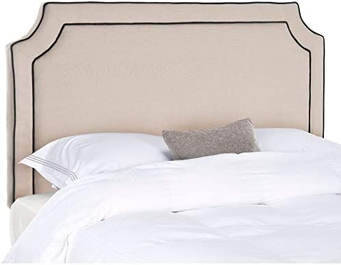 Safavieh Dane Taupe/ Black Piping Linen Upholstered Headboard King
