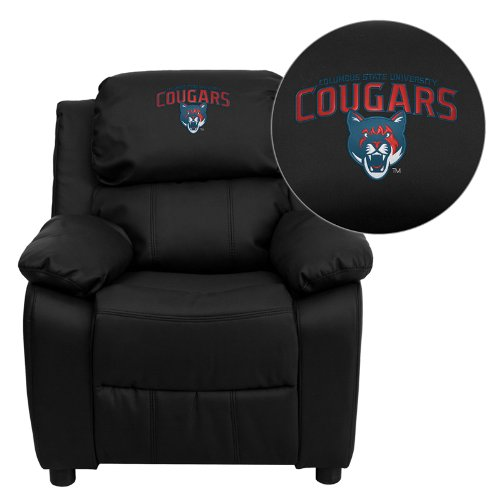 Flash Furniture Columbus State University Cougars Embroidered Black Leather Kids Recliner with Storage - Nba Kids Recliner