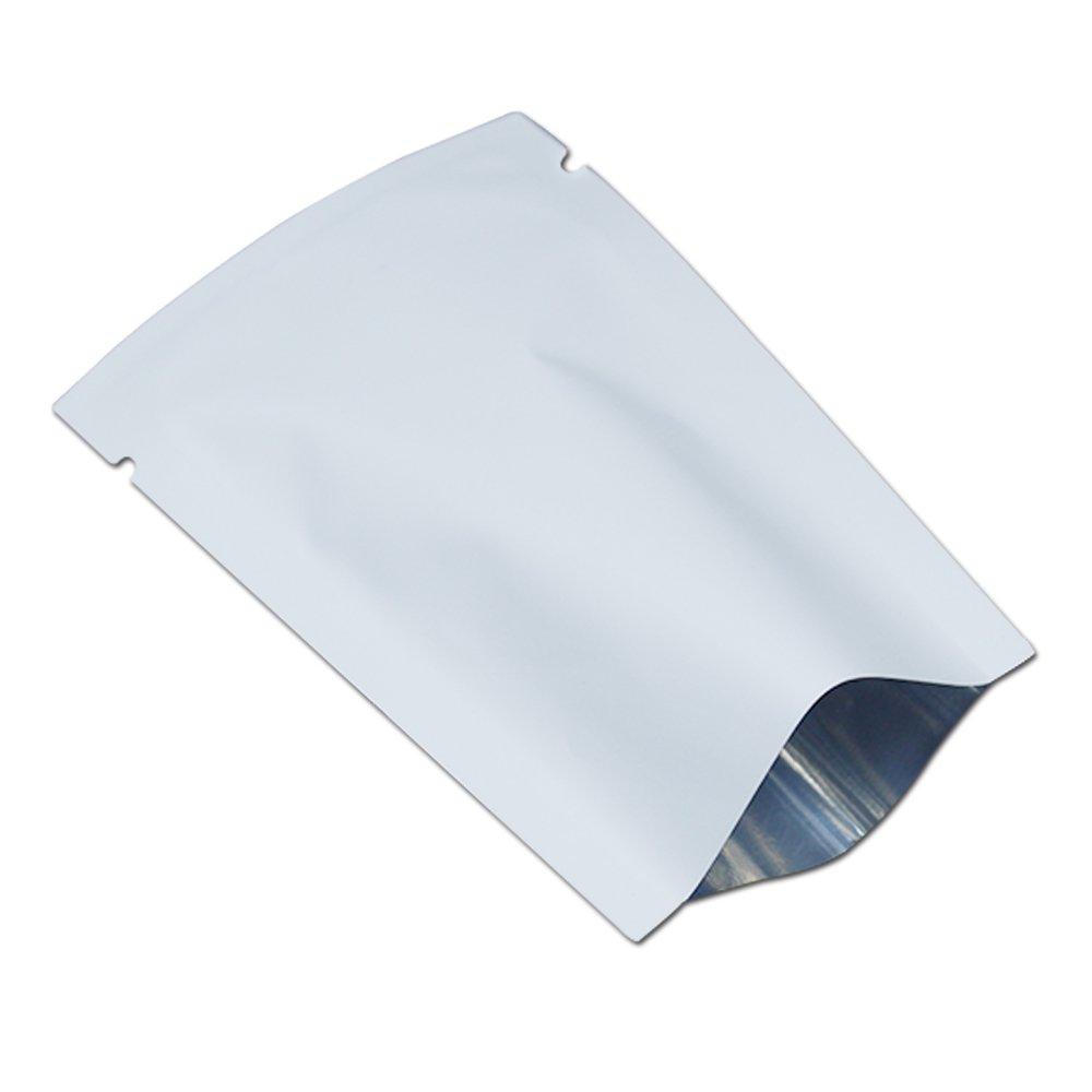 300 Pcs Matte White Flat Open Top Pure Aluminum Foil Bag Vacuum Heat Seal Packaging Pouches Food Coffee Tea Storage Mylar Foil Bag For Kitchen Party Packaging 6x9cm (2.3x3.5 inch)