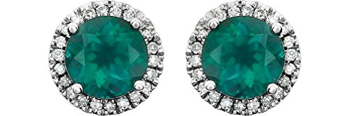 Created Emerald and Diamond Halo Button Earrings, Rhodium-Plated 14K White Gold (.13 Cttw, Color HIJ, Clarity I1-I2) by The Men's Jewelry Store (for HER)