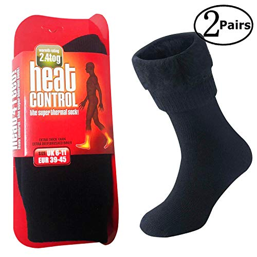 Extreme Temperatures Thermal Socks 1/2 Pairs–Thick Heat Trapping Insulated Heated Boot Socks–Warm Winter Crew Socks For Cold Weather (Black-2 Pairs-Men)