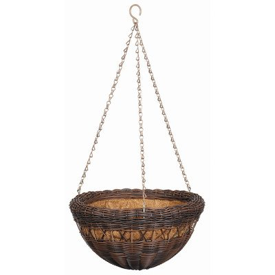 DMC Products 13-Inch Resin Wicker Hanging Basket with Chain Hanger, Antique Brown (Traditional Planter Wicker)