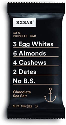 RXBAR, Chocolate Sea Salt, Protein Bar, 1.83 Ounce (Pack of 12), High Protein Snack, Gluten Free