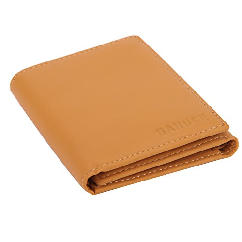 Banuce Women's Full Grains Genuine Leather Slim Small Item Trifold Wallet Color Light Brown by Banuce (Image #5)
