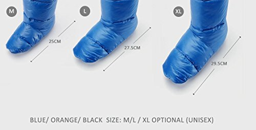 Camping Warm Socks For Sleeping Bag Tent Indoor Outdoor Night Slipper Packable Cozy Socks 100% Feather,Keep Warm 24-Hour Black