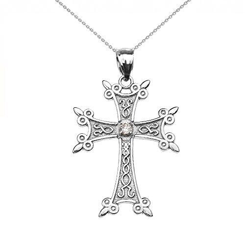 Collier Femme Pendentif 14 Ct Or Blanc Élégant Arménien Croix Oxyde De Zirconium (Livré avec une 45cm Chaîne)