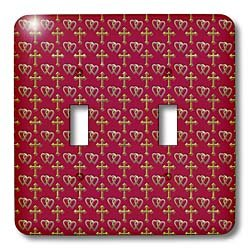 - 3dRose lsp_35986_2 Small Gold Entwined Hearts and Cross On A Maroon Or Burgundy Background. Double Toggle Switch