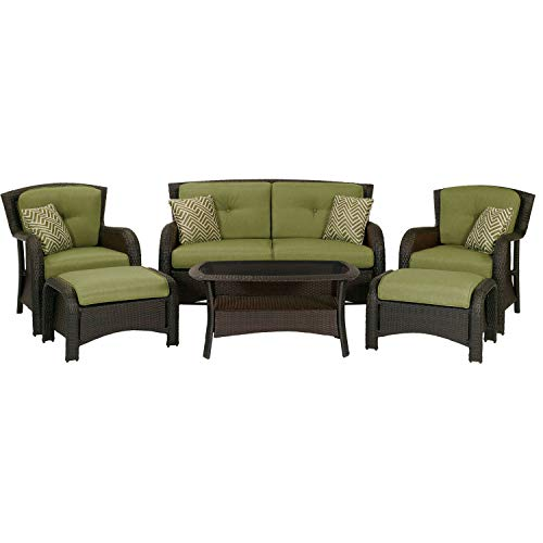 Hanover STRATHMERE6PC, 2 Side Chairs with Ottomans, Loveseat and Glass Coffee Table Strathmere 6-Piece Outdoor Patio Conversation Set, Cilantro Green