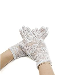 uxcell® Lady Floral Lace Wrist Length Full Finger Gloves Pair White
