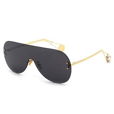 fe42d9332756 Oversized oval Sunglasses Women Brand Trendy Gradient Sun Glasses Female  Luxury Design Pearl Oversized Sunglass Frames UV400 with box (balck)   Amazon.co.uk  ...