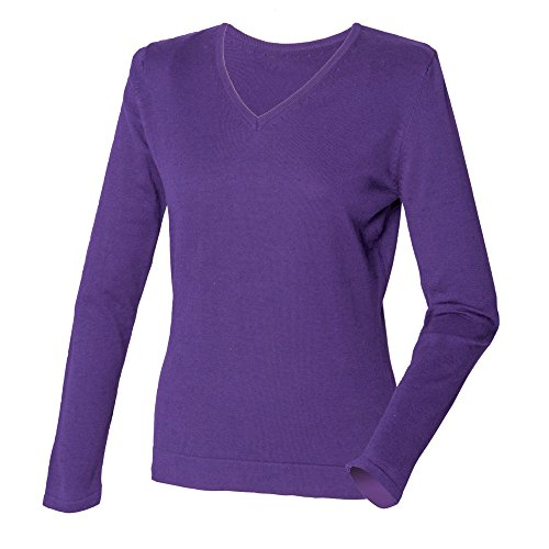 Henbury Womens/Ladies 12 Gauge Fine Knit V-Neck Jumper / Sweatshirt (S) (Purple)