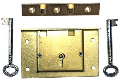 S-7E Large Brass Half Mortise Chest Lock with Two Skeleton Keys + Free Bonus (Skeleton Key Badge)