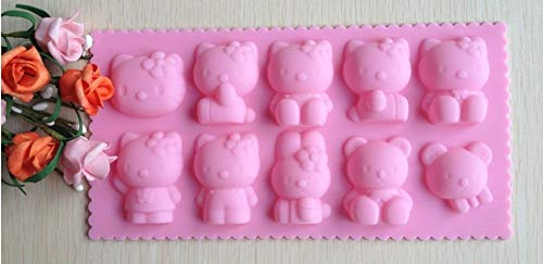 1 piece Hello kitty shape Muffin Sweet Candy Jelly fondant Cake chocolate Mold Silicone tool Ice mould Baking Pan DIY