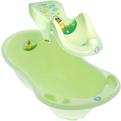 LUX BABY BADESET ENTE Große Babybadewanne 102cm + Badesitz Farbe Grün