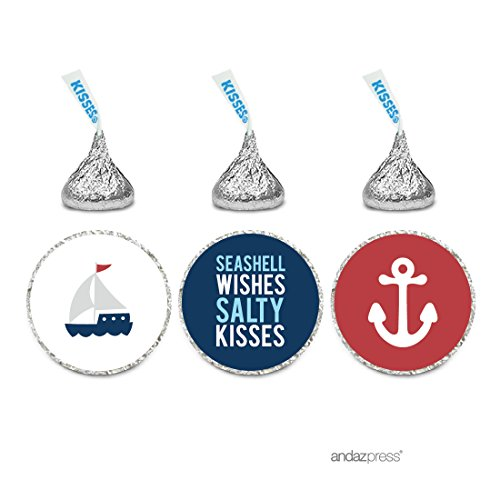 Andaz Press Sail Away Nautical Birthday Collection, Salty Kisses Chocolate Drop Labels Trio, Fits 240 pack]()