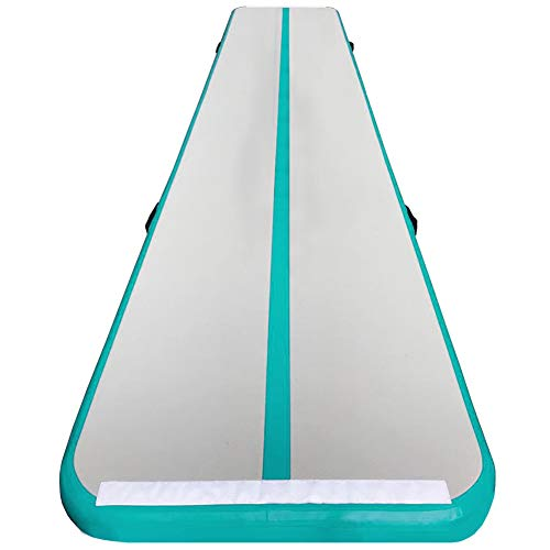 86 York Inflatable Tumble Air Track Mat with Pump for Gymnastics Home Use/Training/Cheer leading/Beach/Park Water/Parkour (16ftx3.3ftx4in, light green)