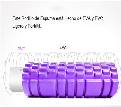 Faszien Rolle Massagerolle, HiHiLL   EVA und PVC Material  Schaumstoffrollen2 in 1 Fitnessrolle 2 verschiedene Zonen Triggerpunkt Selbstmassagerolle Übungen  Gewichtt 900g, Lila