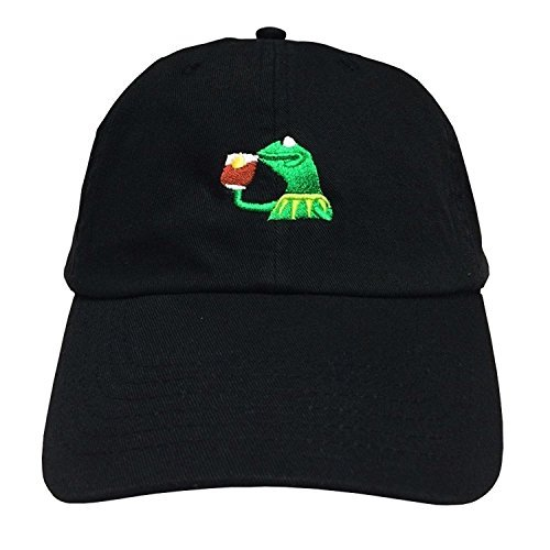 """The Frog """"Sipping Tea"""" Adjustable Strapback Cap (Black Frog)"""