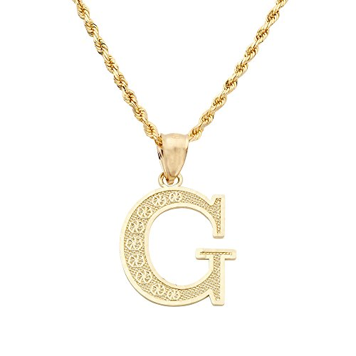 Cut Initial Letter Diamond (MR. BLING 10K Yellow Gold Diamond Cut A to Z Alphabet Initial Letter Charm Necklace Pendant (Small) (G) (0.78
