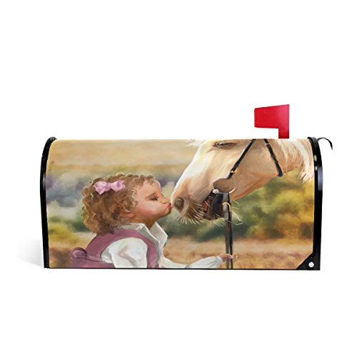WOOR Oil Painting Horse and a Girl Magnetic Mailbox Cover Oversized-25.5
