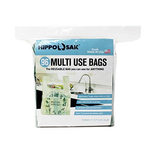 Multi Use Hippo Sak with Power Strip, Reusable Plastic Grocery Bags (96 Pack)