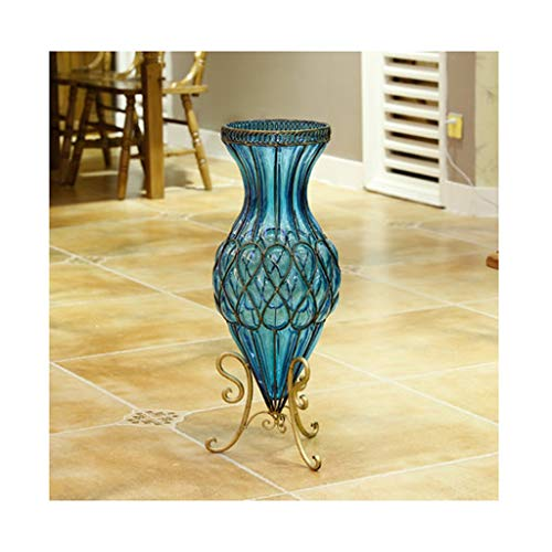 YJWOZ Floor-Standing Transparent Glass vase hydroponic Large Living Room vase Decoration 27×67cm vase (Color : A) (Large Glass Floor Vases Standing)