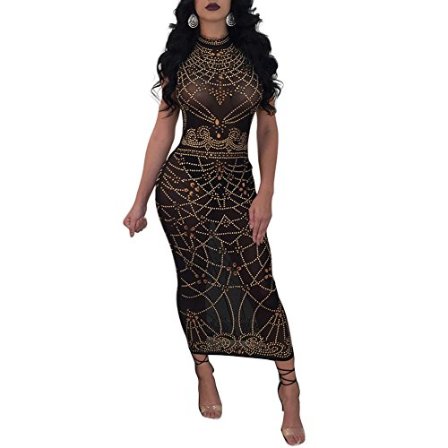 Women's Sexy See Through Mesh Sheer Printed Party Bodycon Midi Pencil Dress Clubwear Black XL (Mesh Printed Dress Sleeveless)