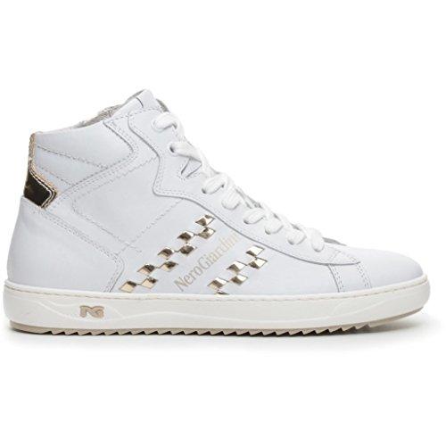 Sneakers NeroGiardini in pelle bianca e doppia chiusura tramite lacci e lampo (Taglia 37)