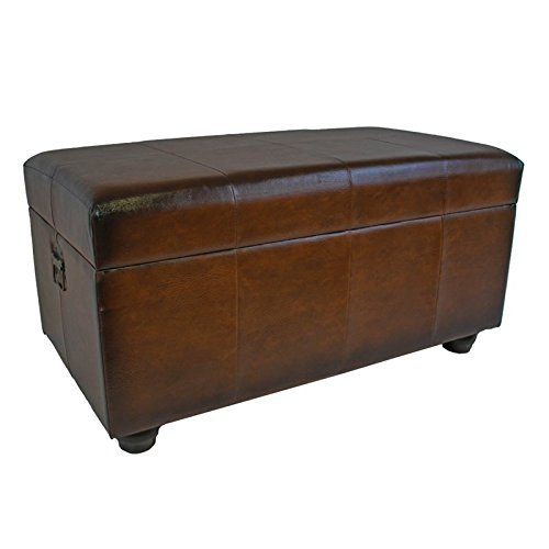 International Caravan YWLF-2186-BR-IC Furniture Piece Faux Leather Bench Trunk w/Lid, 0