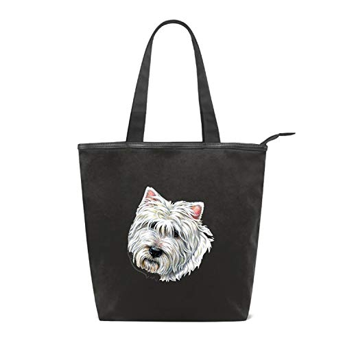 Fashion Women's Multi-pocket Canvas Handbags Westie Terrier Shoulder Bags Totes Purses