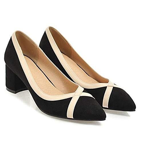 ZHZNVX Zapatos de Mujer Suede Spring Comfort Heels Chunky Heel Black/Beige / Pink Black