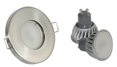 5Watt Power LED LM GU10 230 Dusche IP65 inkl Aussenlampe Einbauleuchte rund