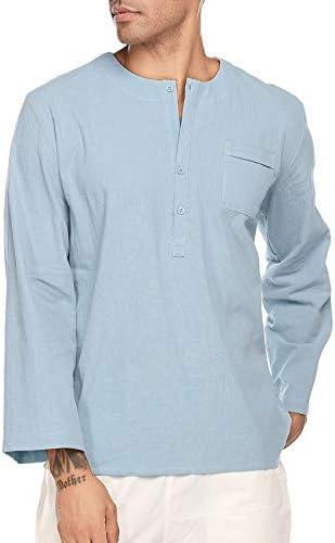 Coofandy playera de algodón para hombre, de color sólido, hippie, manga larga, con botones de playa: Amazon.es: Ropa y accesorios
