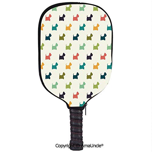 SCOXIXI 3D Pickleball Paddle Racket Cover Case,Polka Dotted Animal Silhouettes English Terriers Cute Abstract Pattern Image DecorativeCustomized Racket Cover with Multi-Colored,Sports Accessories