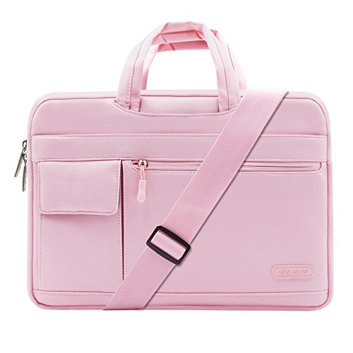 MOSISO Laptop Shoulder Bag Compatible 13-13.3 Inch MacBook Pro, MacBook Air, Notebook Computer, Protective Polyester Flapover Messenger Briefcase Carrying Handbag Sleeve Case Cover, Pink (Pink Computer Bags For Laptops)