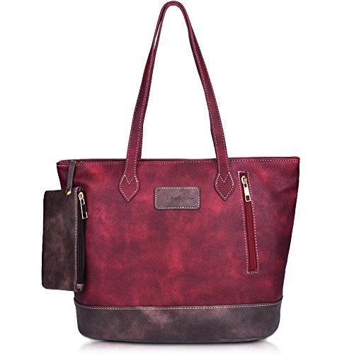 Big Handbag Tote (ZMSnow Designer PU Leather Tote Handbag Mix Color Shoulder Bag for Women Girl)