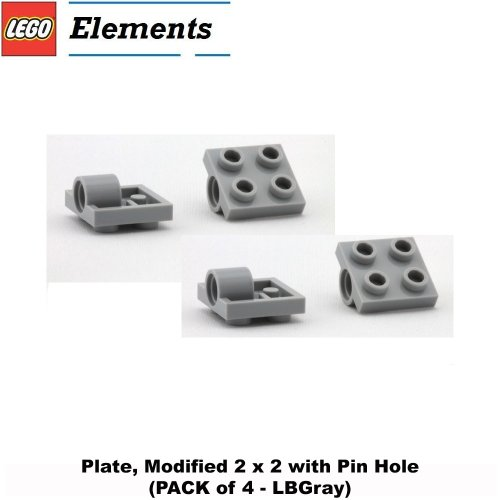 Lego Parts: Plate, Modified 2 x 2 with Pin Hole (PACK of 4 - LBGray)