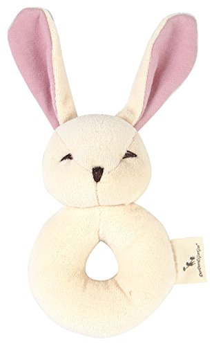 [DorDor & GorGor ORGANIC Plush Toy, Dye Free Natural Hue, Bunny Rattle] (Cloth Rattle)