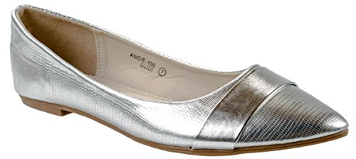 Bella Marie Shoes Womens Angie-106 Pointed Patent Leather Flats With Decorative Band on Front End Silver 5LIY0uM