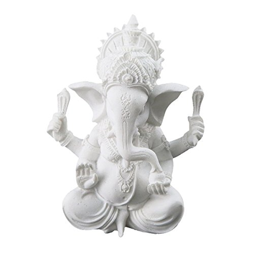 White Ganesha Elephant God Statue Sandstone Handmade Sculpture Buddha Figurine Decoration for Home Decoration Crafts Gifts