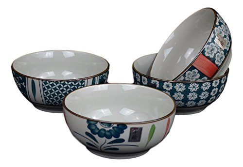 Set of 4 Salad Fruit Cereal Dessert Serving Soup Noodle Rice Bowls, Japanese Korean Chinese Bowl Set