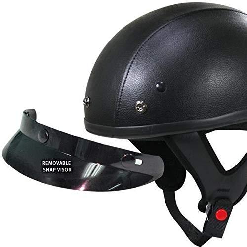 Outlaw T70 Dark Rider Black Leather Like Half Helmet with Snap Visor - ()